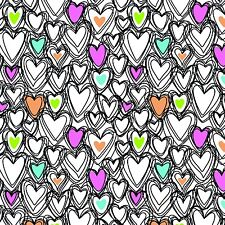 "Scribble Hearts Print Knit 96% cotton 4% Spandex 58"" wide fabric by the yard"