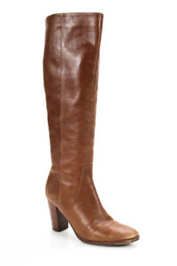 Belle Sigerson Morrison Womens Knee High Stacked Heel Boots Brown Leather Size 8