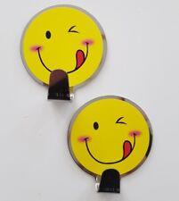 2 Stk. Klebehaken Edelstahl Handtuchhalter selbstklebend mit Smileymotiv