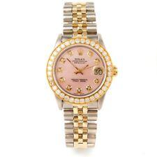 Rolex 31mm 18K/SS Midsize Datejust 68273 - Pink MOP Diamond Dial - Diamond Bezel