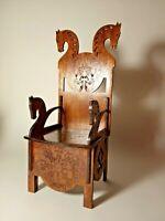 "Chair VIKING HORSE THRONE for Dolls 16"" 1/4 BJD Tonner wood furniture OOAK Rare"