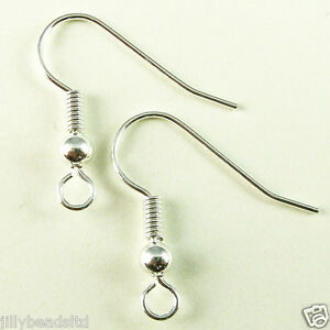 Fish Hook Earwire : Pack of 20 Pairs available in various metal finishes