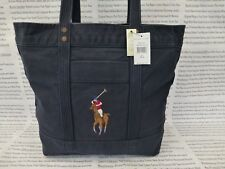 RALPH LAUREN Tote Bag Ladies Large Shoppers Handbag Navy Cotton Bags New R£115