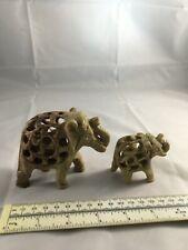 2 Vintage Hand Carved Soapstone Pregnant Elephant Baby Inside Figurine w Baby.C3