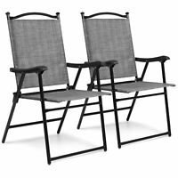 BCP Set of 2 Outdoor Portable Folding Sling Back Mesh Chairs w/ Armrests