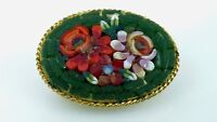 Vintage Oval Italian Micro Mosaic Glass Rose Flower Brooch Pin Gold Tone Metal