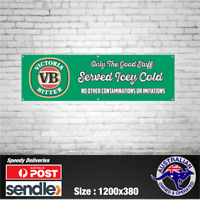Victoria Bitter VB Aussie Beer Banner - The Mancave Bar Beer Spirits Shed