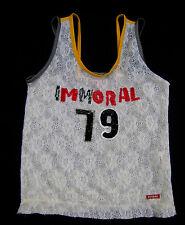Killah miss Sixty Cream lace Immoral 79 sequin slogan sporty retro vest top M