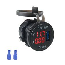 Car USB Fast Charger LED Digital Voltage Amp Gauge Ammeter Voltmeter Waterproof