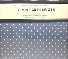 TOMMY HILFIGER DENIM BLUE WHITE DOTS 4 PIECE QUEEN BED SHEET SET