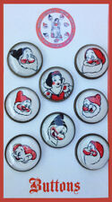 Set of 8 SNOW WHITE AND DWARFS Handmade GLASS DOME BUTTONS from VINTAGE PIN 20mm