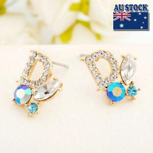 Gorgeous 18K Gold Filled Women Crystal Butterfly Stud Earrings Stunning Jewelry