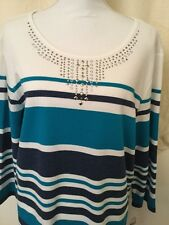 Alfred Dunner Woman's Teal & Blue Striped Top NWT Retail $54.00 Size Large