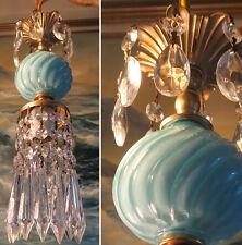 1of7 SWAG lamp chandelier crystal prism Vintage Swirl Aqua Blue tole Brass penda