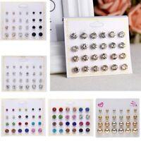 12 pairs Fashion Rhinestone Round Men's Womens Unisex Ear Stud Earring Jewellery