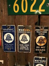 VINTAGE ORIGINAL PORCELAIN ADVERTISING TELEPHONE SIGN BELL SYSTEM price per each