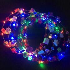 Glow Xmas Party Women Girls LED Light Up Flower Headband Hair Wreath Garland Hot