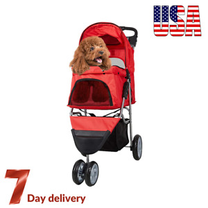 3 Wheels Pet Travel Stroller Cat & Dog Easy Foldable Carrier Jogger Cart Buggy🔥