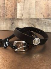 Enmon Blue Devil Sun Viking Silver Concho Mascot Leather Belt Sz 30 NWT