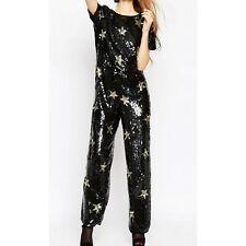 Asos Womens Jumpsuit All Over Star Sequin Embellished Black Gold Wide Leg Sz 6 S