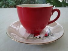 More details for alfred meakin red cup and saucer in the red sails / sailing boat design