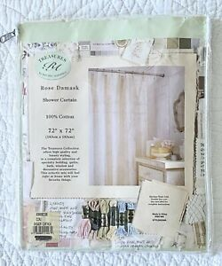 NWT Treasures by Rachel Ashwell Ecru Rose Damask Shower Curtain ~ Shabby Chic
