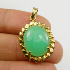 Natural Australian Chrysoprase Claw Pendant Genuine 750 18ct 18k Yellow Gold