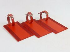 Set of 3 Red Leather Luggage Tags ~ Leeman Ilani Cowhide, Buckle Strap #9093