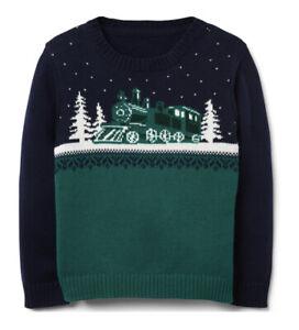 NWT Janie and Jack green train sweater size 4