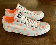 NEW Converse Chuck Taylor All Star Ox White Orange Polka Dot Womens Shoes Size 6