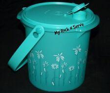 Tupperware  5QT Bucket Canister w/ cap and Handle Aqua w/Daisy Flowers New