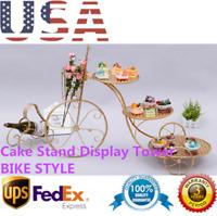 Gold 3 Tier Bike Style Wedding Cake Holder Stand Birthday Cupcake Plate Display