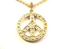 "Large Silver Peace Sign Symbol Pendant Necklace (40mm) - Silver Chain (25"")"