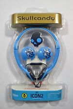 Skull Candy ICON 2 Blue Black White On-Ear Headphones In-Line Mic iPod/iPhone