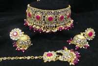 Indian Bollywood Style Bridal Choker Gold Plated Jewelry Necklace Set