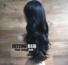 CUTTING HAIR - Sexy Jet Black Perfect Layers Long Curly 3/4 Wig Half Wig 051-1