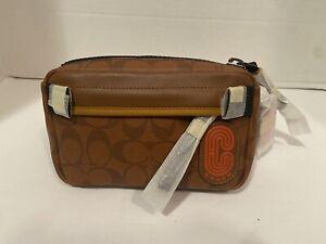 Coach Mini Edge Belt Bag Signature Canvas Tan