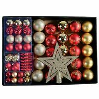 Christmas Tree Decorations Baubles & Star Set Red, Silver and Gold 68 pcs Xmas
