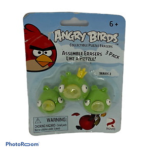 🍊 ANGRY BIRDS - GREEN PIG PUZZLE ASSEMBLE ERASERS - 3 PACK - SERIES 2 - NEW K1