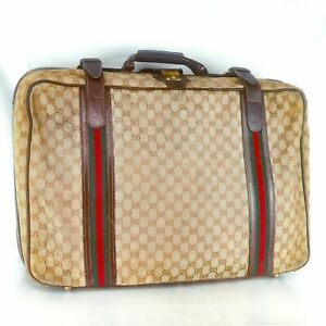 GUCCI GG Pattern Canvas Webbing Sherry Travel Luggage Bag Purse Vintage Beige