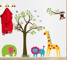 Monkey Tree Elephant Giraffe Lion Wall Sticker Removable Kids Nursery Room Decal
