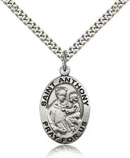 """Saint Anthony Of Padua Medal For Men - .925 Sterling Silver Necklace On 24"""" C..."""