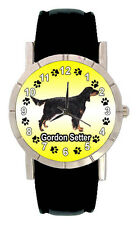 Gordon Setter Dog Mens Womens Genuine Leather Band Quartz Wrist Watch SA1084