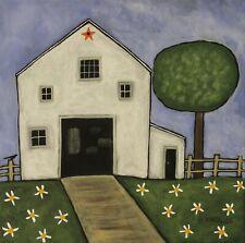 Daisy Barn 12 x 12 x 3/4 ORIG CANVAS PAINTING Folk Art Primitive Karla Gerard