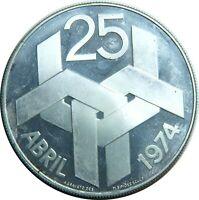 PORTUGAL 250 ESCUDOS 1974 KM#604 SILVER REVOLUTION 1974 PROOF LIKE T27