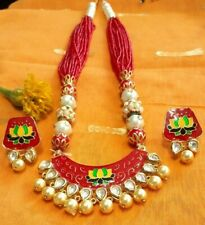 Indian Traditional Lotus Meenakari Kundan Pearl Fashion Necklace and Earrings