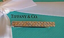 Tiffany & Co Sterling Silver / 14k Yellow Gold Basket Weave Tie Bar Clip Pin