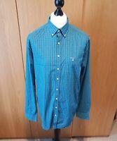Mens Gant Green/Blue check Regular shirt, 17 1/2 inch collar, Size XL 43/44