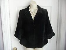 TAHARI 6 Jacket Shirt Back Velour Swing Cropped Silk Rayon Embroidered 3/4 Sleev