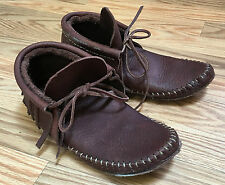 LEATHER MOCCASIN NATIVE MOUNTAIN MAN,Shoes Slippers w/ Fringe Women's 9 or M 7